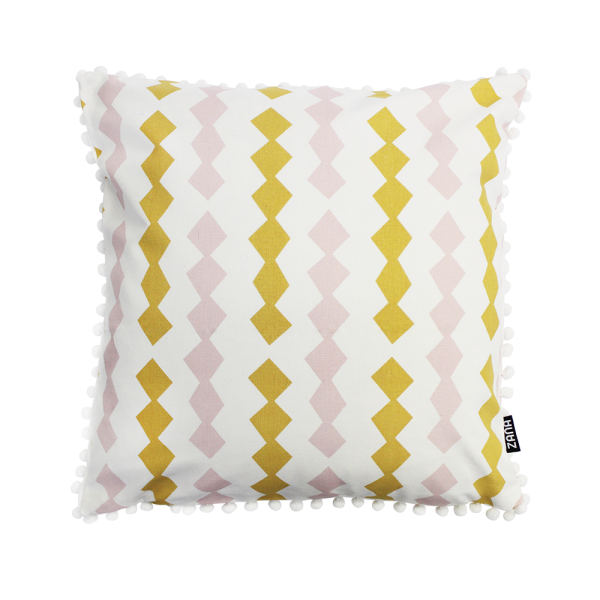 Siebdruck-Kissenbezug Gelb/Rosa